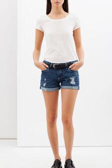 Worn-effect denim shorts, Dark Blue, hi-res