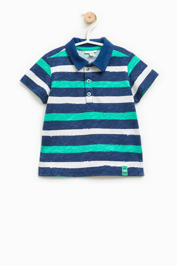 Striped polo shirt with bluff collar, Blue/Green, hi-res