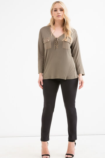 Curvy solid colour blouse, Army Green, hi-res