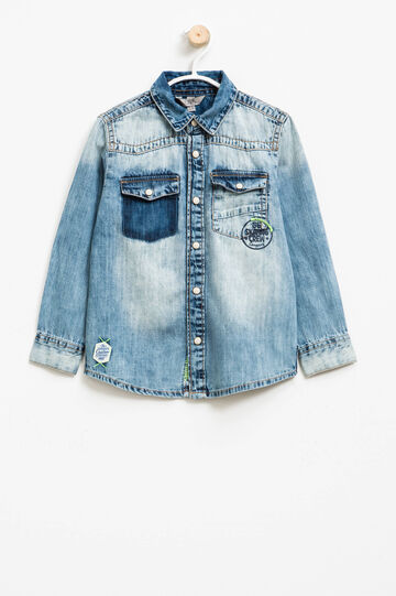Denim shirt with print and patches, Denim, hi-res