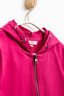 Solid colour 100% cotton sweatshirt, Fuchsia, hi-res