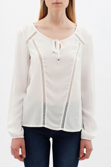 Blouse with lace details, White, hi-res