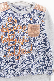 Sweatshirt with flower pattern and sequins, Grey Marl, hi-res