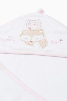 Accappatoio con patch e custodia, Bianco/Rosa, hi-res