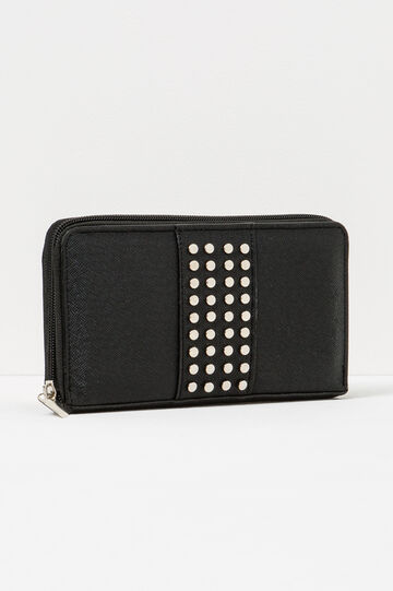 Textured-effect wallet with studs, Black, hi-res