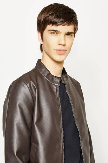 Leather-look jacket with round neck