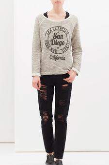 Printed sweatshirt in cotton lurex blend, Black, hi-res