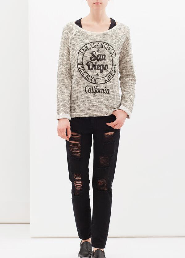 Printed sweatshirt in cotton lurex blend | OVS