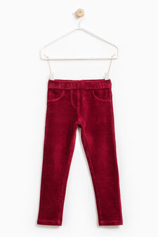 Jeggings in velluto a costina, Rosso scuro, hi-res