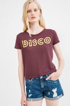 Printed crop T-shirt in viscose blend, Claret Red, hi-res