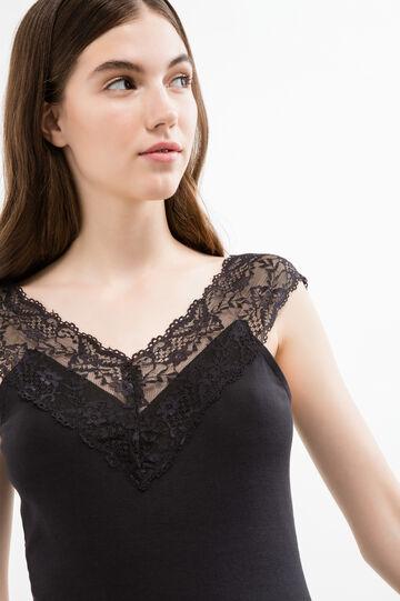 100% cotton top with solid colour lace, Black, hi-res