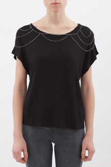 Stretch viscose T-shirt with chains, Black, hi-res