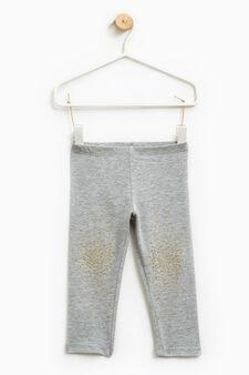 Rhinestone stretch leggings, Grey Marl, hi-res