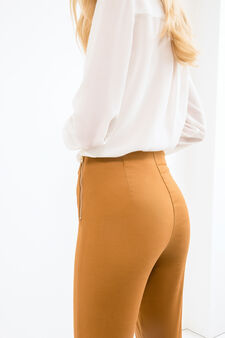 Solid colour stretch trousers, Sunflower Yellow, hi-res