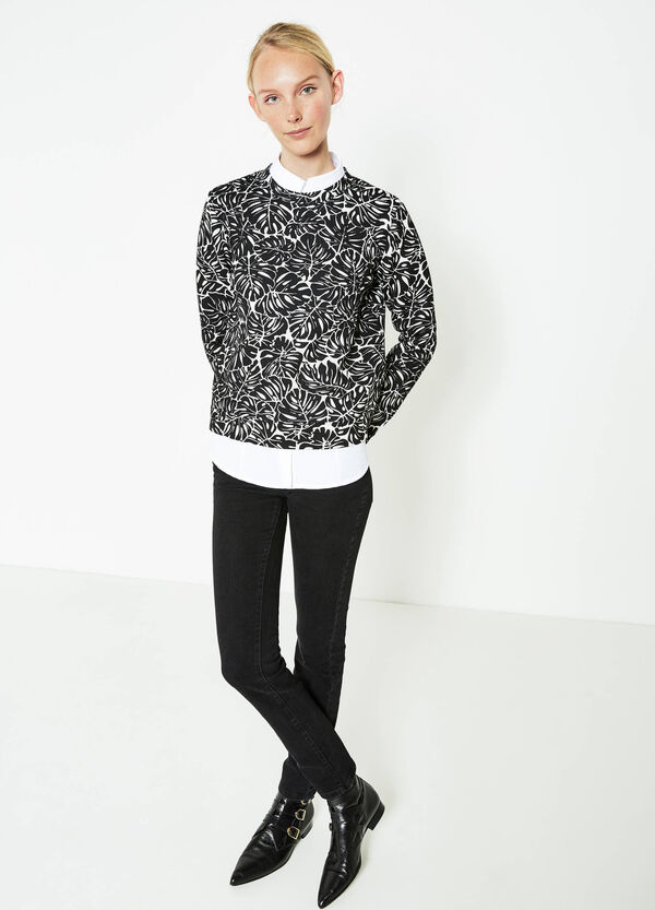 Stretch viscose crop floral sweatshirt | OVS