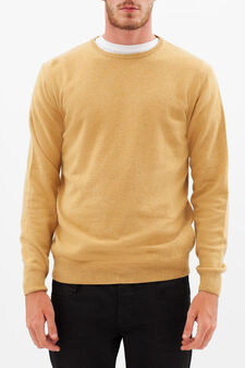 Pullover with round neck, Yellow, hi-res