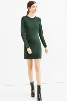 Dress with round neck and zip on back, Green, hi-res