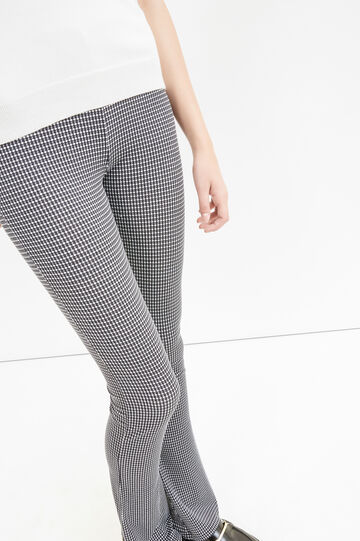 Leggings stretch stampa all-over, Nero/Bianco, hi-res