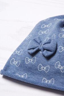 Cappello a cuffia con fiocchetto, Blu navy, hi-res