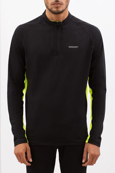Sweatshirt with zip, Black, hi-res