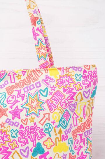 Shopping bag cotone con stampa, Nero/Rosa, hi-res
