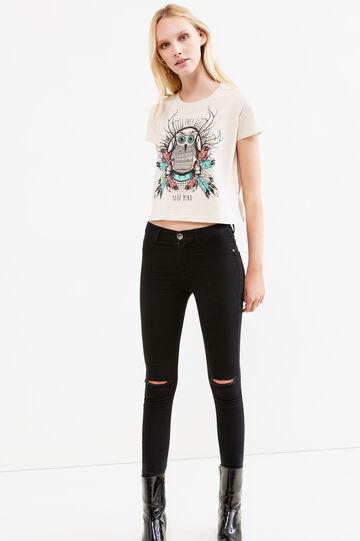 T-shirt crop puro cotone stampata, Cammello, hi-res