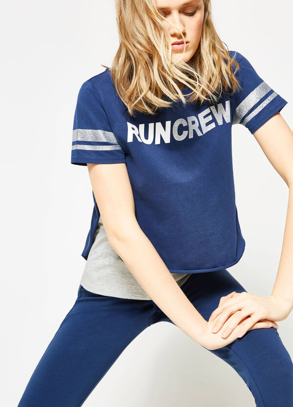 Faux layered T-shirt with glitter print | OVS