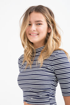 Teen striped patterned pullover, White/Blue, hi-res