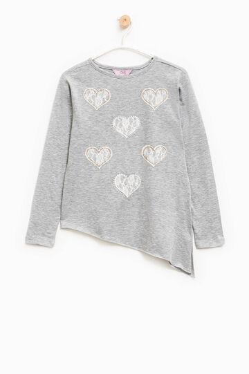 T-shirt cotone fondo asimmetrico, Grigio chiaro, hi-res