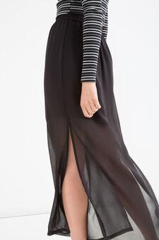 Semi-sheer long skirt, Black, hi-res