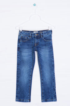 Worn-effect jeans with 5 pockets., Medium Wash, hi-res