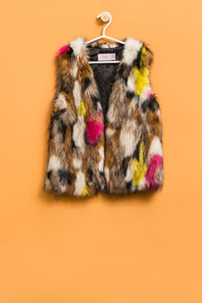 Gilet in pelliccetta, Marrone, hi-res