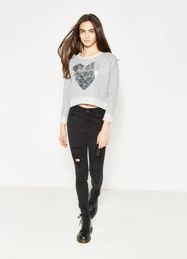 Jeans a vita alta con strappi Teen | OVS