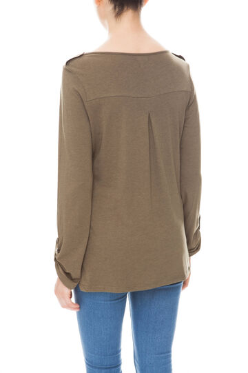 T-shirt con taschino, Marrone khaki, hi-res