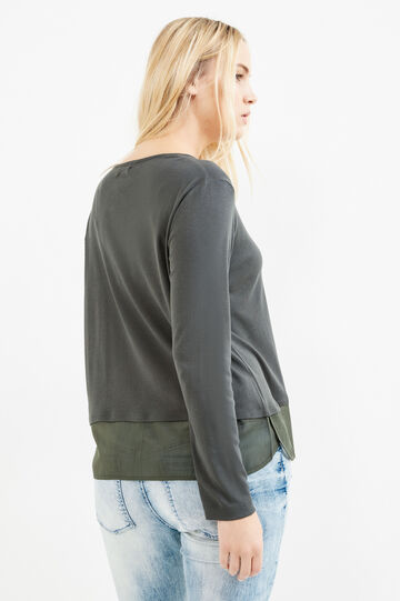 Curvy faux layered cotton T-shirt, Forest Green, hi-res