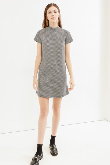 Stretch dress with geometric pattern, White/Black, hi-res