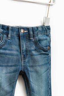 Jeans effetto used con zip, Denim, hi-res