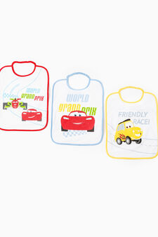 Three-pack cotton bibs with Cars print, Multicolour, hi-res