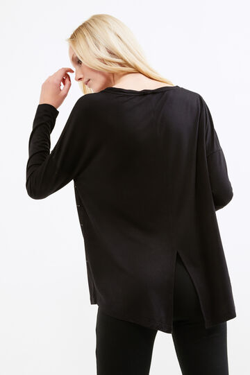 T-shirt in stretch viscose with diamantés, Black, hi-res