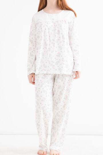 Curvy patterned cotton pyjamas, White, hi-res