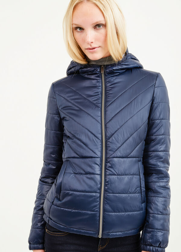 Down jacket with stretch cuffs and hood | OVS