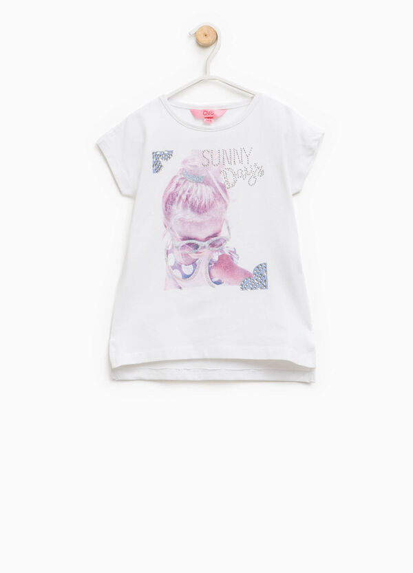 Cotton T-shirt with glitter and diamantés | OVS