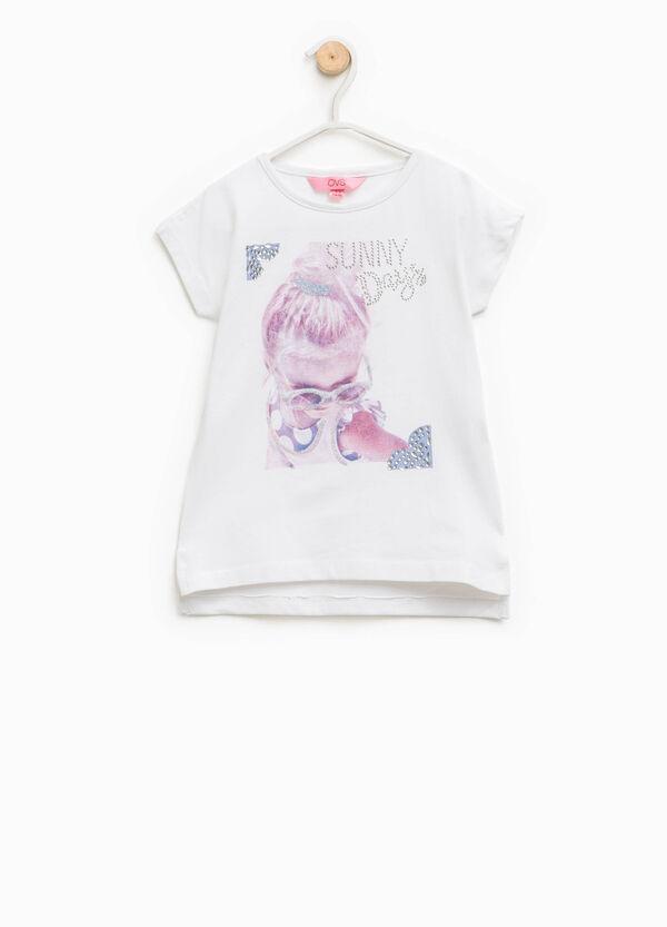 T-shirt in cotone con glitter e strass | OVS