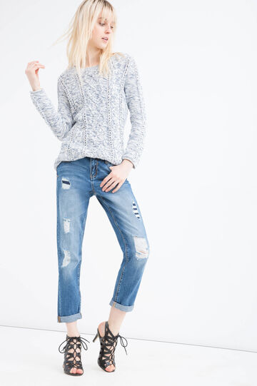Ripped girlfriend jeans