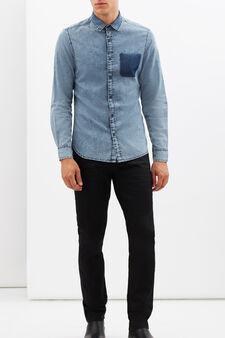 Slim fit shirt with pocket., Light Wash, hi-res