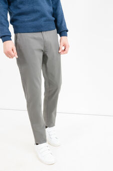 Solid colour 100% cotton trousers, Slate Grey, hi-res