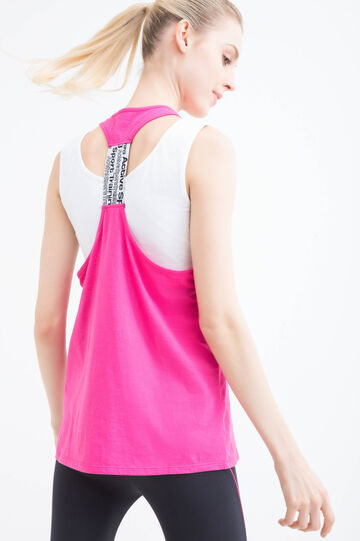 Gym top in cotton blend, Pink, hi-res