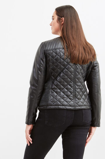 Curvy leather look jacket with studs, Black, hi-res
