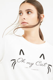 Cotton blend printed sweatshirt, Milky White, hi-res