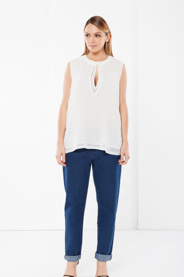 Round neck Curvy blouse, White, hi-res